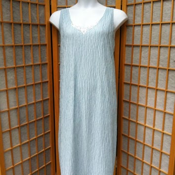 "Vintage 2x Linea Donatella Lingerie Blue Sleeveless Nightgown 46"" Bust"