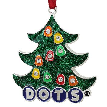 "3"" Silver Plated ""DOTS"" Candy Logo Christmas Tree Ornament with European Crystals"