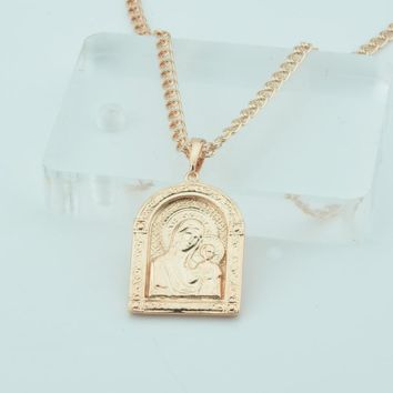 Fashion Jewelry 7 Style Womens Men 585 Gold Color Pendants Necklace Religion Church Icon of the Mother Son God/Savior Pendant