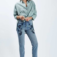 MOTO Blue Embroidered Straight Leg Jeans