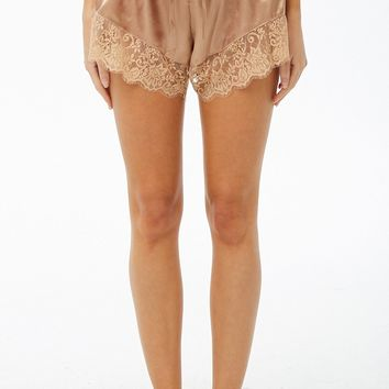 Eyelash Lace-Trim Satin Cami & Shorts Set