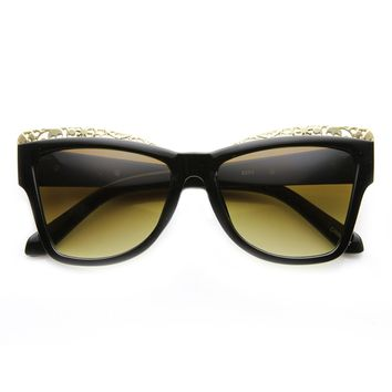 High Fashion Chic Metal Cut-Out Artwork Women's Cat Eye Sunglasses
