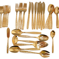 Gold Flatware Set, 46-Pcs
