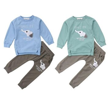 Newest Baby Boy Clothing Newborn Kid Boys Girls Long Sleeve Elephant Printed Tops+Long Pants Hot Baby Girl Cotton Clothes