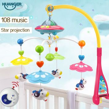 Huanger Musical Crib Mobile Bed Bell Baby Rattle Rotating Bracket Projecting Toys for 0-12 Months Newborn Kids Christening gift