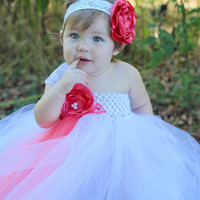 Beautiful Coral and White Lace Satin Flower Tutu Dress for Baby Girl 6-18 Months Old First Birthday