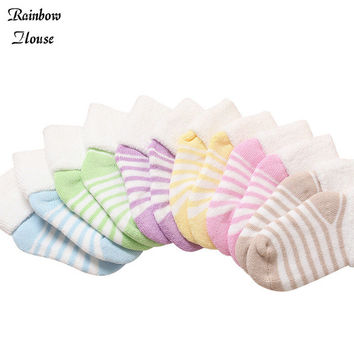New 2017 Thicken Children Socks Cotton Newborn Winter Cute Baby Socks Fashion Towel Stripe Socks For Baby Toddler 5pairs/lot