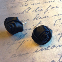 Handmade Black 16mm Diameter Satin Rose Rosette Retro Victorian Fabric Stud Post Earrings