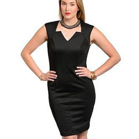 The Plus Size Black Crown Neckline Bodycon Dress Only 1X Left