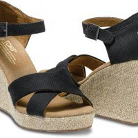 TOMS Shoes Black Canvas Strappy Wedges Women's Heels,