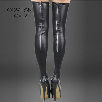 RJ80043 Comeondear Super Deal  Leather Stockings Erotic Back Zipper  Thigh High Stockings  Lady Trendy Leg Wear