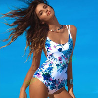 Woman's High Cut One Piece Swimming Suit