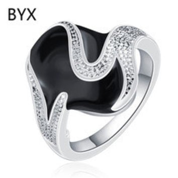 Oval black paint zirconia diamond special twist rings for women silver plated party fashion jewelry bijoux two size YXNE0939