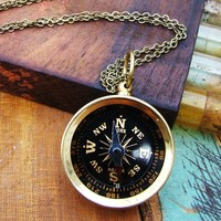 Unisex Wanderlust Brass Compass Necklace
