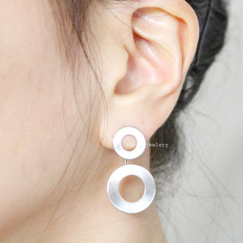 Open Circles, Bubble Front and Back earrings,Circle Front and Back earrings in 2 colors