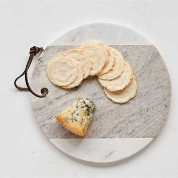 Creative Co-Op - Round White Marble Wood Cheese Board