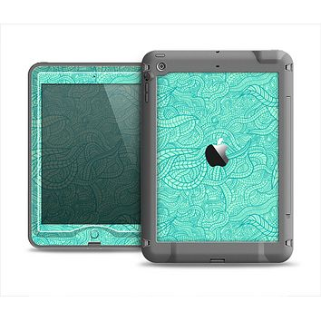 The Teal Leaf Laced Pattern Apple iPad Mini LifeProof Nuud Case Skin Set