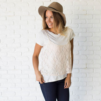 Lay Over Lace & Cotton Double Top