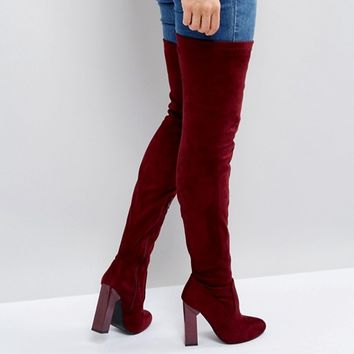 Boohoo Over The Knee Block Heeled Boot at asos.com