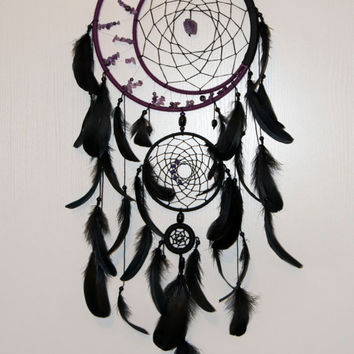 Large black violet dreamcatcher, Large dream catcher, Amethyst dream catchers, Boho dreamcatcher, Heavenly dream, wooden frame, feathers