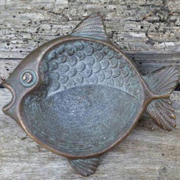 French vintage bronze fish, pagan altar offering dish, western quarter offering bowl, Pisces bronze bowl, wiccan altar decor, zodiac decor