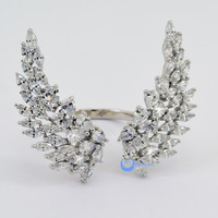 ANGEL WINGS Open Front Fashion Ring Signity CZ Rhodium Sterling Silver