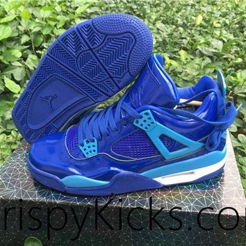 [ FREE SHIPPING ] AIR JORDAN 4 (11LAB4 BLUE PATENT LEATHER) BASKETBALL SNEAKER