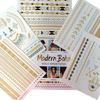 Aztec Collection Metallic Tattoos Gold and Silver Flash By Modern Boho