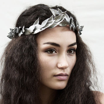Silver Leaf Crown - Metallic Silver Leaf Headband, Greek Headpiece, Silver, Winter Crown, Unisex, Greek Leaf Headpiece, Toga, Costume