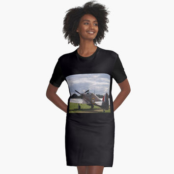 'Hawker Hurricane Fighter' Graphic T-Shirt Dress by Malcolm Snook