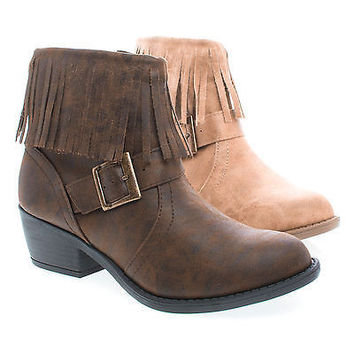 Nikita Natural By Soda, Women's Fringe Ankle Boots, Western Inspired Stack Heel Bootie