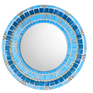 Blue Mosaic Mirror, Round Wall Mirror, Accent Mirror, Blue and Gold Home Decor - SALE