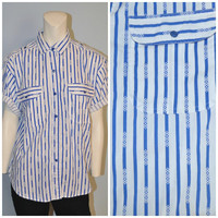 Vintage 1980's Vertical Stripes Button Down Shirt Short Sleeve Blouse Blue and White Striped Aztec Southern Classics Women's Size Medium