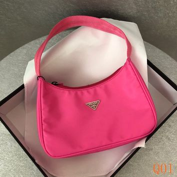 HCXX 19Aug 938 Prada Mini Sportsexy Canvas Fashion Casual Hobo 22-15-6