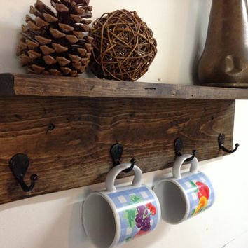 Rustic wood wall mug rack with shelf, distressed wall coat rack, rustic coat hooks, wall mug holder, towel rack