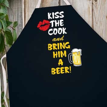 Attitude Apron Kiss Cook Bring Beer