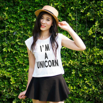 Unicorn TShirt Crop Top Sleeveless Tee Muscle Tank Trendy Womens Clothing Text Printed Shirts