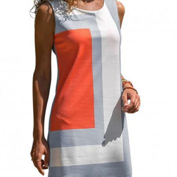 Orange Color Block Geometric Sleeveless Sundress