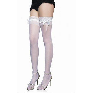 White Stripes Lace Knee-length Socks [6048045633]