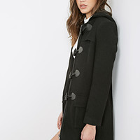 FOREVER 21 Hooded Longline Toggle Coat Black