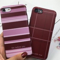 Lovely stripe grid printed plastic Case Cover for Apple iPhone 7 7Plus 6 Plus 6 -05011