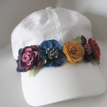 White Garment Washed Light Weight Trucker Baseball Cap with Adorable Multi Colored Flower Trim Pony Tail Buckle Back Hats Spring Hats