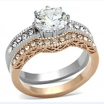 Look of Love - 2.75 CT. Equivalent Cubic Zirconia Filigree Engagement/Wedding Set