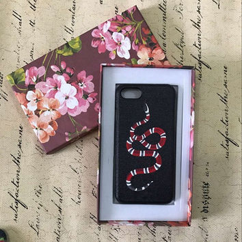 Italy Luxury Fashion Famous Brand Leather phone case For Iphone 7Plus 7 6Plus 6S Lovely Red Snake bee Flowers phone case-004-05-Girllove100