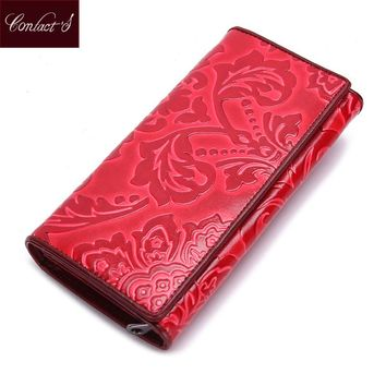 Brand Women Clutch Wallet Genuine Leather Floral Embossed Design Hasp Long Ladies Cell Phone Purse Card Holder Feminina Carteria