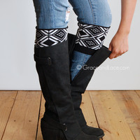 Patterned Boot Cuff - TRIBAL boot cuff - intarsia knit boot topper faux legwarmers sock tops knit leg warmers boot warmers