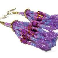 Purple Blue Pink Seed Bead Earrings with Splatter Beads Womens Loop Tassel Dangle Jewelry Gold Plated Surgical Steel Earwires