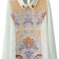 Multicolor Long Sleeve Diamonds Print Blouse