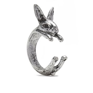 Rabbit Ring in Silver Tone Alloy by Silver Phantom Jewelry
