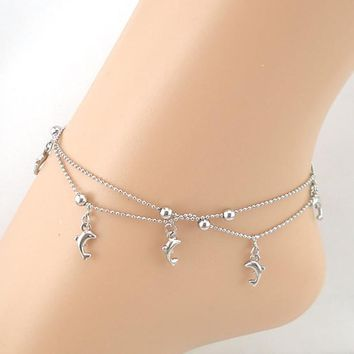 Dolphin Chain Anklet Bracelet Sandal Beach Foot Jewelry
